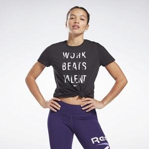 Camisa Feminina Reebok Work Beats Talent Graphic - Black